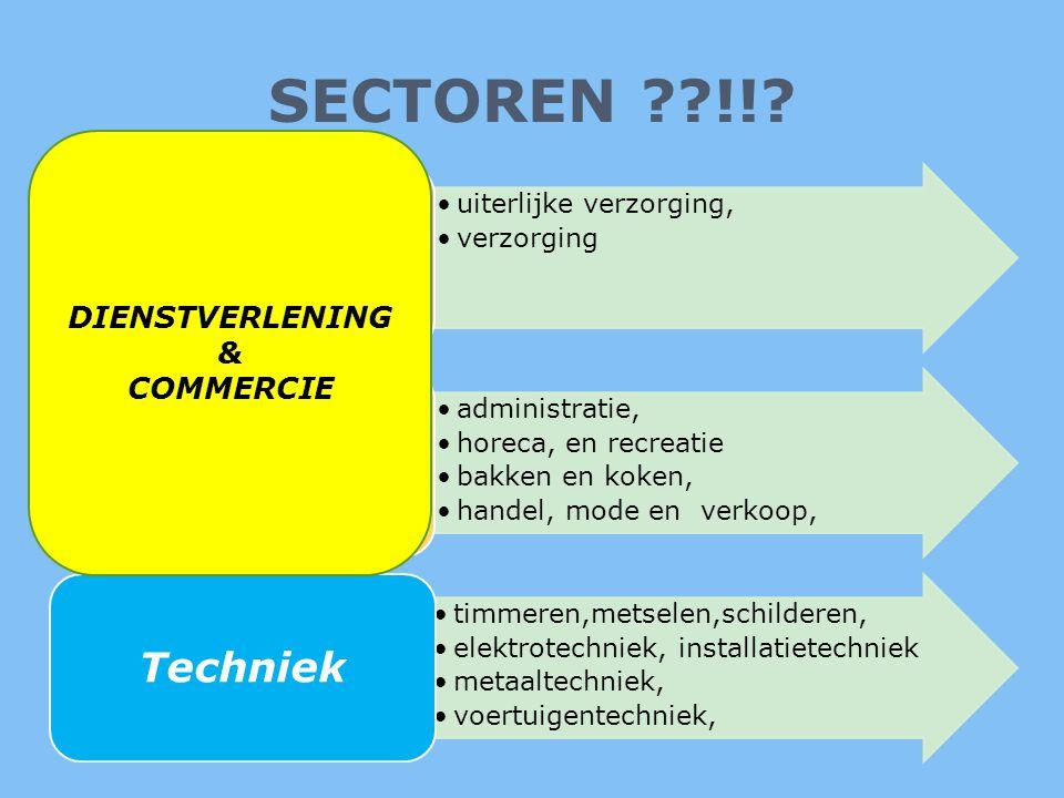 SECTOREN ??!!? •uiterlijke verzorging, •verzorging Zorg & Welzijn •administratie, •horeca, en recreatie •bakken en koken, •handel, mode en verkoop, Ec