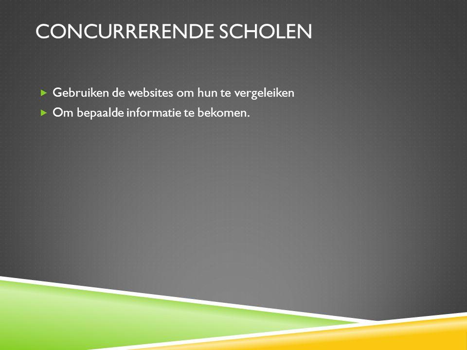 CONCURRERENDE SCHOLEN  Gebruiken de websites om hun te vergeleiken  Om bepaalde informatie te bekomen.