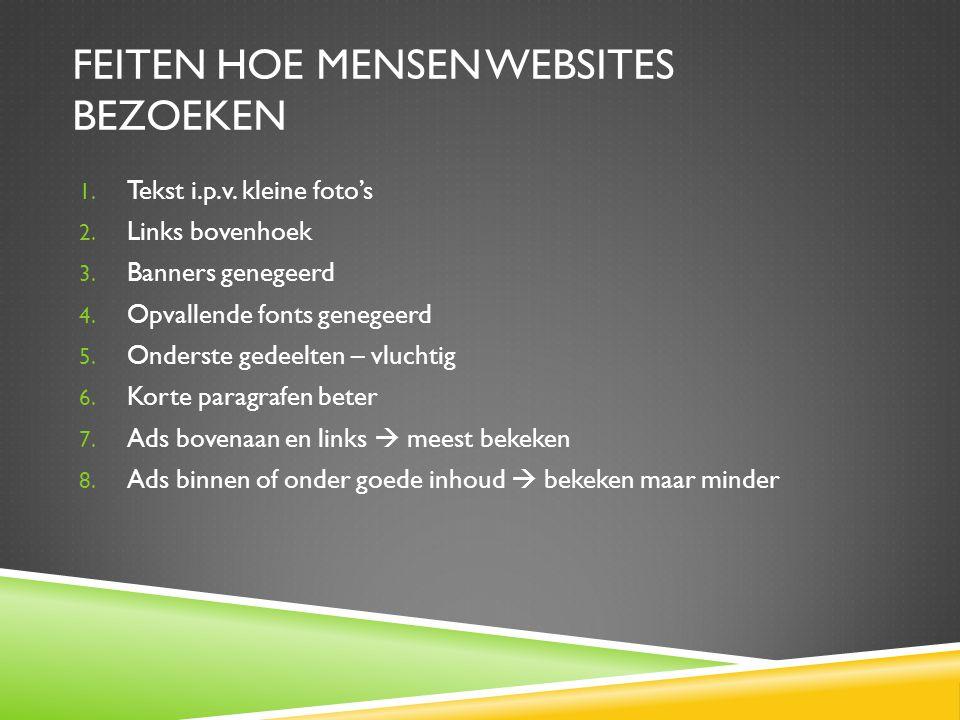 FEITEN HOE MENSEN WEBSITES BEZOEKEN 1.Tekst i.p.v.