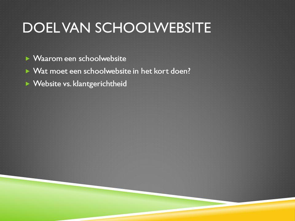 DOEL VAN SCHOOLWEBSITE  Waarom een schoolwebsite  Wat moet een schoolwebsite in het kort doen.