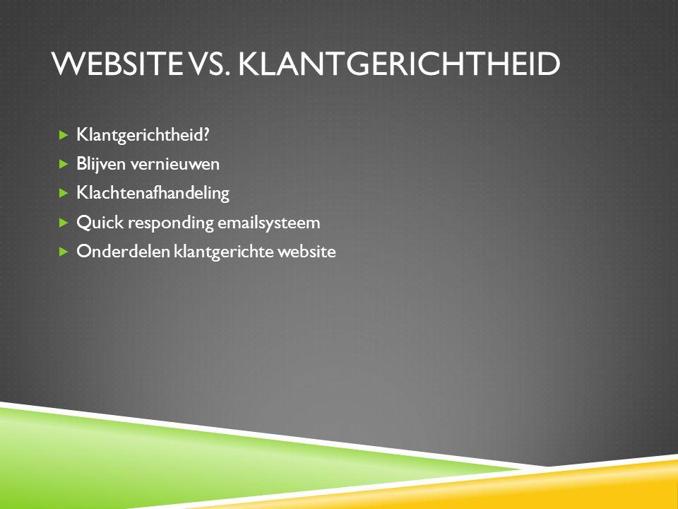 WEBSITE VS.KLANTGERICHTHEID  Klantgerichtheid.