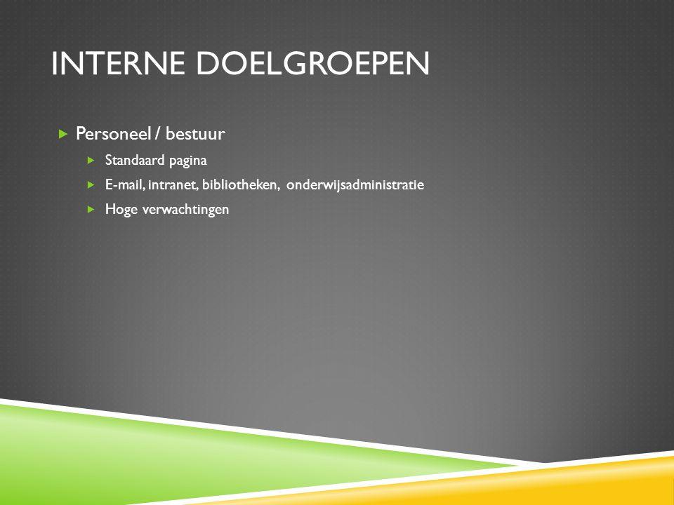 INTERNE DOELGROEPEN  Personeel / bestuur  Standaard pagina  E-mail, intranet, bibliotheken, onderwijsadministratie  Hoge verwachtingen