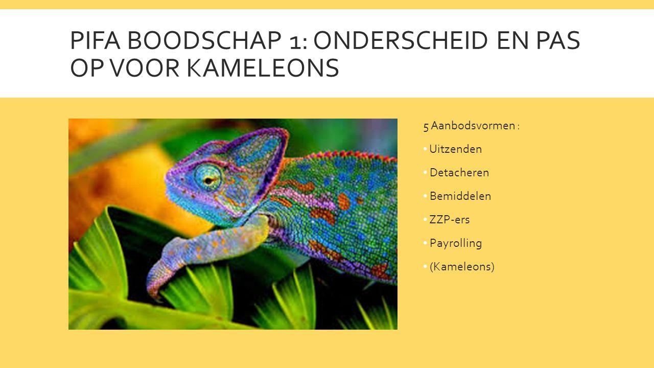 PIFA BOODSCHAP 1: ONDERSCHEID EN PAS OP VOOR KAMELEONS 5 Aanbodsvormen : • Uitzenden • Detacheren • Bemiddelen • ZZP-ers • Payrolling • (Kameleons)