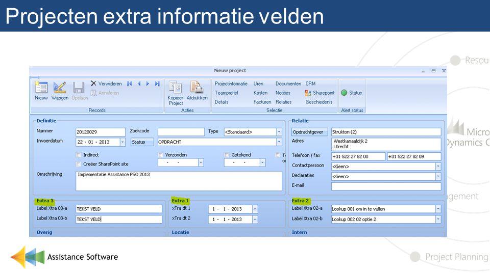 Projecten extra informatie velden