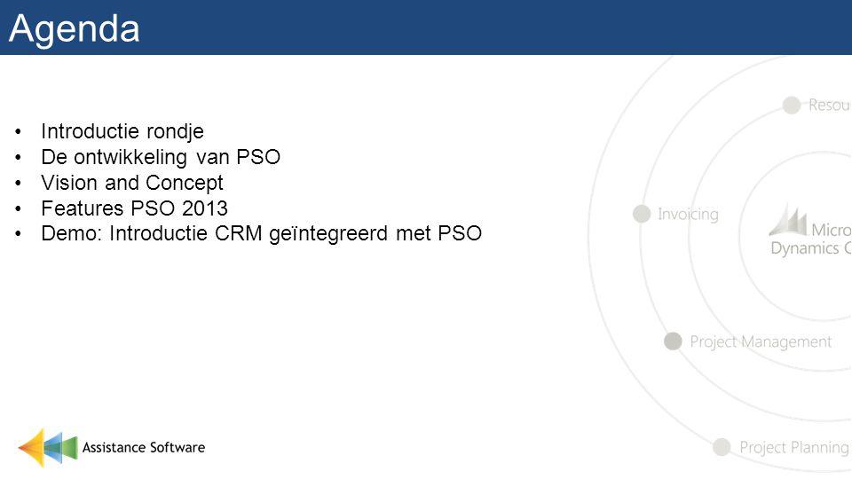 Agenda •Introductie rondje •De ontwikkeling van PSO •Vision and Concept •Features PSO 2013 •Demo: Introductie CRM geïntegreerd met PSO