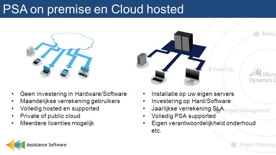 PSA on premise en Cloud hosted •Geen investering in Hardware/Software •Maandelijkse verrekening gebruikers •Volledig hosted en supported •Private of p