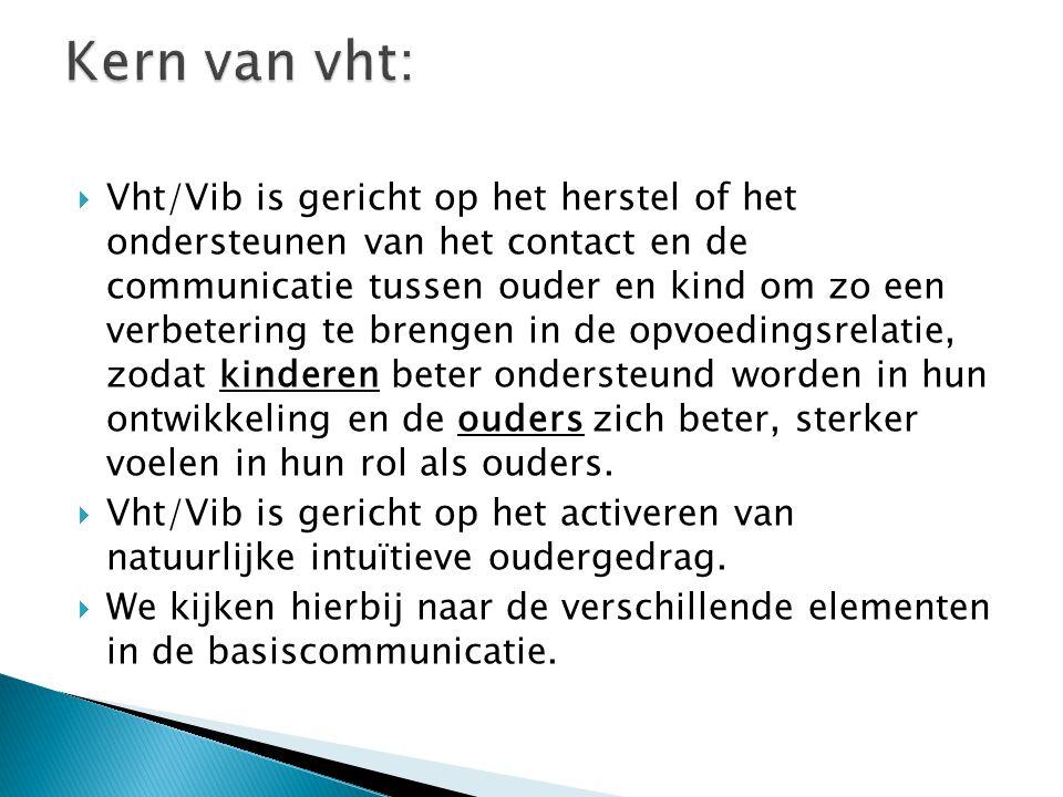  Vht/Vib is gericht op het herstel of het ondersteunen van het contact en de communicatie tussen ouder en kind om zo een verbetering te brengen in de