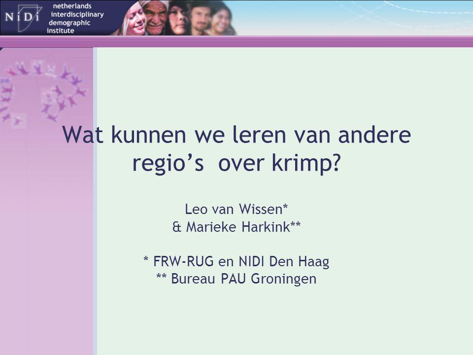 Wat kunnen we leren van andere regio's over krimp? Leo van Wissen* & Marieke Harkink** * FRW-RUG en NIDI Den Haag ** Bureau PAU Groningen