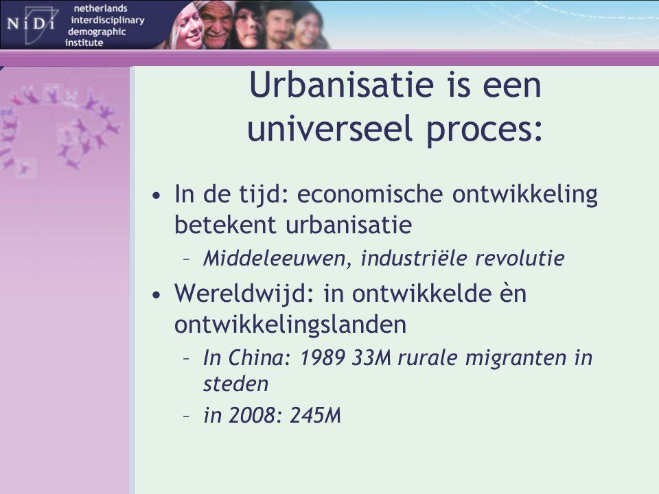 Urbanisatie is een universeel proces: •In de tijd: economische ontwikkeling betekent urbanisatie –Middeleeuwen, industriële revolutie •Wereldwijd: in