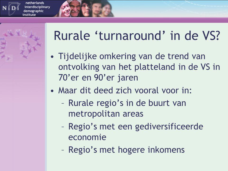 Rurale 'turnaround' in de VS? •Tijdelijke omkering van de trend van ontvolking van het platteland in de VS in 70'er en 90'er jaren •Maar dit deed zich