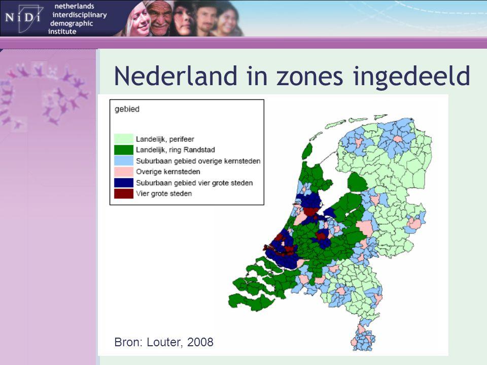 Nederland in zones ingedeeld Bron: Louter, 2008