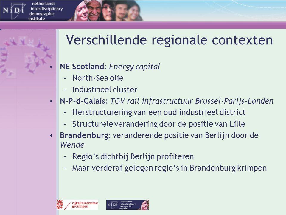 Verschillende regionale contexten •NE Scotland: Energy capital –North-Sea olie –Industrieel cluster •N-P-d-Calais: TGV rail infrastructuur Brussel-Par