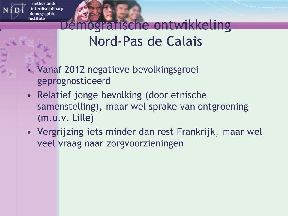 Demografische ontwikkeling Nord-Pas de Calais •Vanaf 2012 negatieve bevolkingsgroei geprognosticeerd •Relatief jonge bevolking (door etnische samenste