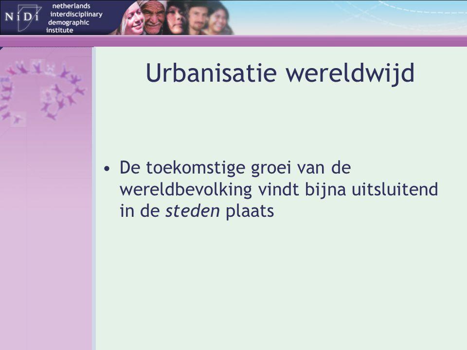 Urbanisatie wereldwijd •De toekomstige groei van de wereldbevolking vindt bijna uitsluitend in de steden plaats