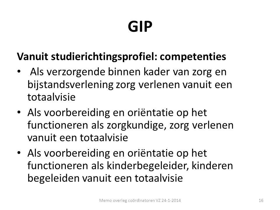 GIP Vanuit studierichtingsprofiel: competenties • Als verzorgende binnen kader van zorg en bijstandsverlening zorg verlenen vanuit een totaalvisie • A