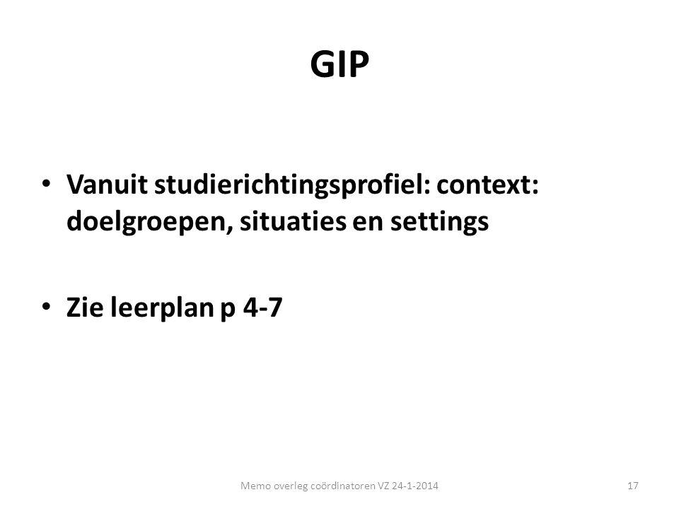 GIP • Vanuit studierichtingsprofiel: context: doelgroepen, situaties en settings • Zie leerplan p 4-7 17Memo overleg coördinatoren VZ 24-1-2014