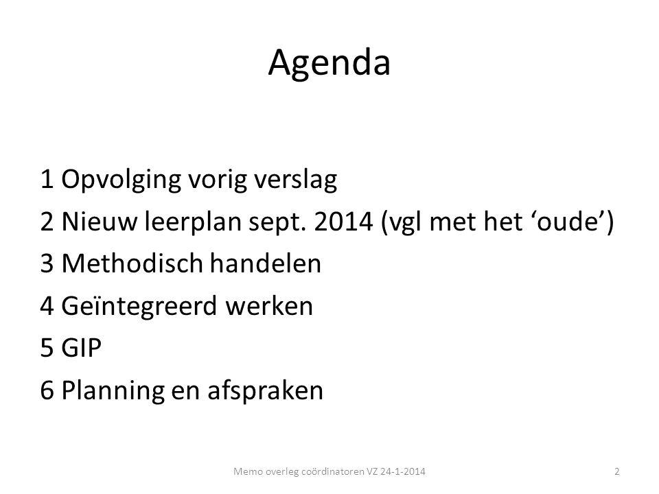 Agenda 1 Opvolging vorig verslag 2 Nieuw leerplan sept. 2014 (vgl met het 'oude') 3 Methodisch handelen 4 Geïntegreerd werken 5 GIP 6 Planning en afsp
