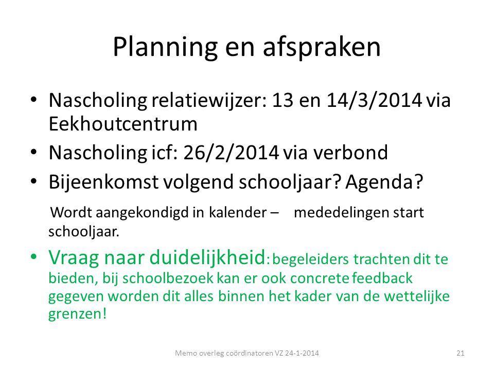 Planning en afspraken • Nascholing relatiewijzer: 13 en 14/3/2014 via Eekhoutcentrum • Nascholing icf: 26/2/2014 via verbond • Bijeenkomst volgend sch
