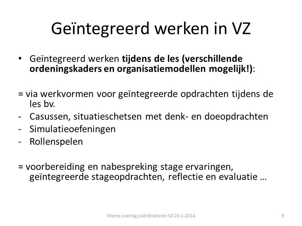 Geïntegreerd werken in VZ • Geïntegreerd werken tijdens de les (verschillende ordeningskaders en organisatiemodellen mogelijk!): = via werkvormen voor