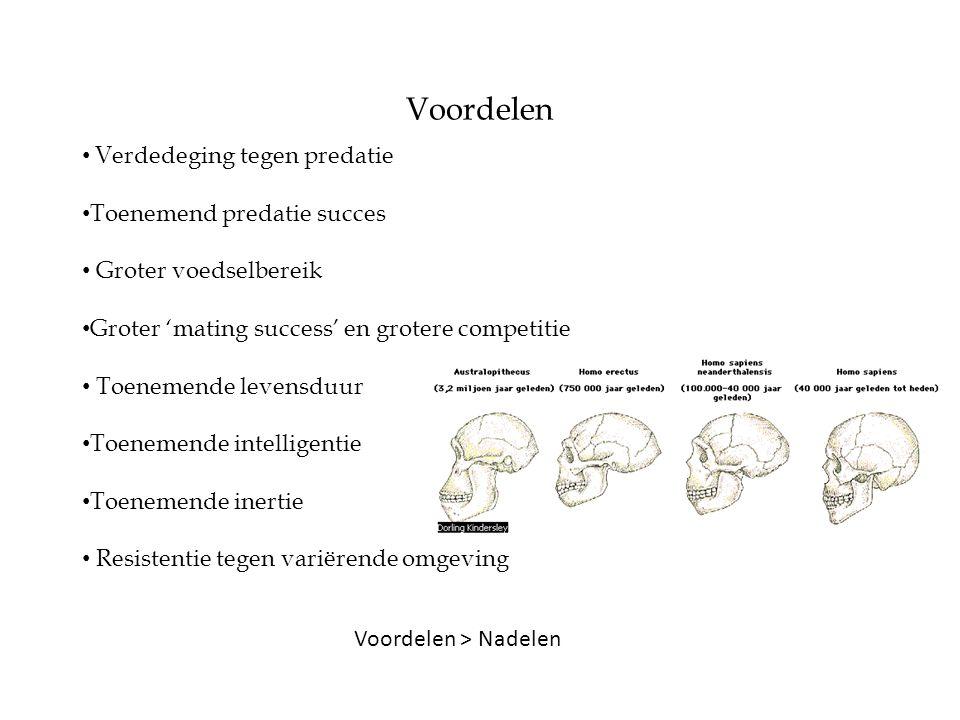 Voordelen > Nadelen Voordelen • Verdedeging tegen predatie • Toenemend predatie succes • Groter voedselbereik • Groter 'mating success' en grotere com