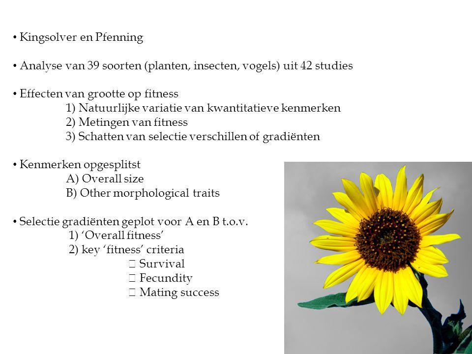 • Kingsolver en Pfenning • Analyse van 39 soorten (planten, insecten, vogels) uit 42 studies • Effecten van grootte op fitness 1) Natuurlijke variatie