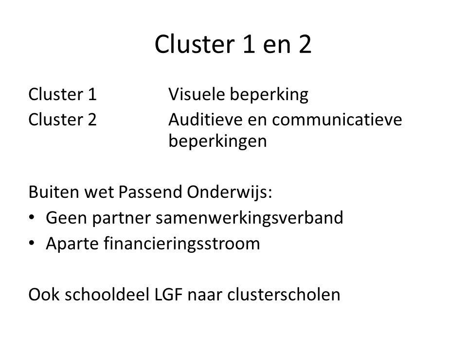 Cluster 1 en 2 Cluster 1Visuele beperking Cluster 2Auditieve en communicatieve beperkingen Buiten wet Passend Onderwijs: • Geen partner samenwerkingsverband • Aparte financieringsstroom Ook schooldeel LGF naar clusterscholen