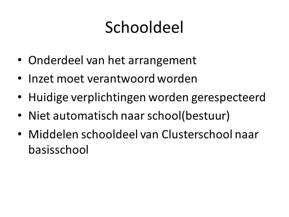 Schooldeel • Onderdeel van het arrangement • Inzet moet verantwoord worden • Huidige verplichtingen worden gerespecteerd • Niet automatisch naar schoo