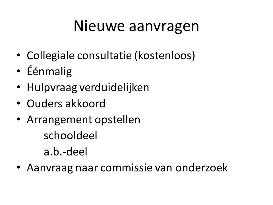 Nieuwe aanvragen • Collegiale consultatie (kostenloos) • Éénmalig • Hulpvraag verduidelijken • Ouders akkoord • Arrangement opstellen schooldeel a.b.-