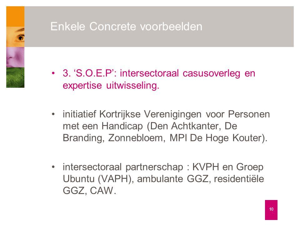 Enkele Concrete voorbeelden 10 •3. 'S.O.E.P': intersectoraal casusoverleg en expertise uitwisseling. •initiatief Kortrijkse Verenigingen voor Personen