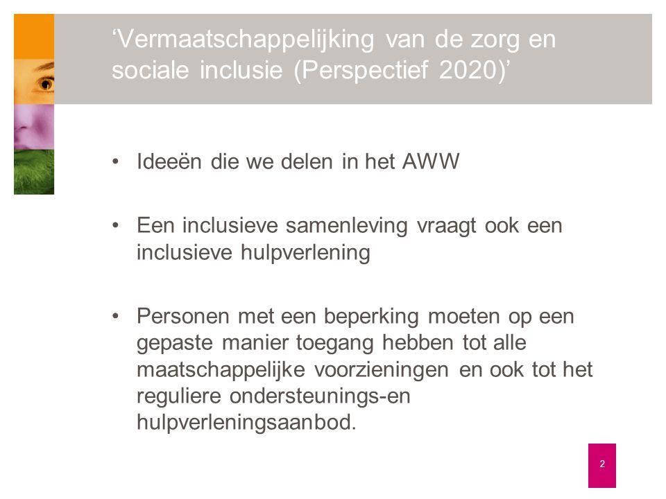 'Vermaatschappelijking van de zorg en sociale inclusie (Perspectief 2020)' 2 •Ideeën die we delen in het AWW •Een inclusieve samenleving vraagt ook ee