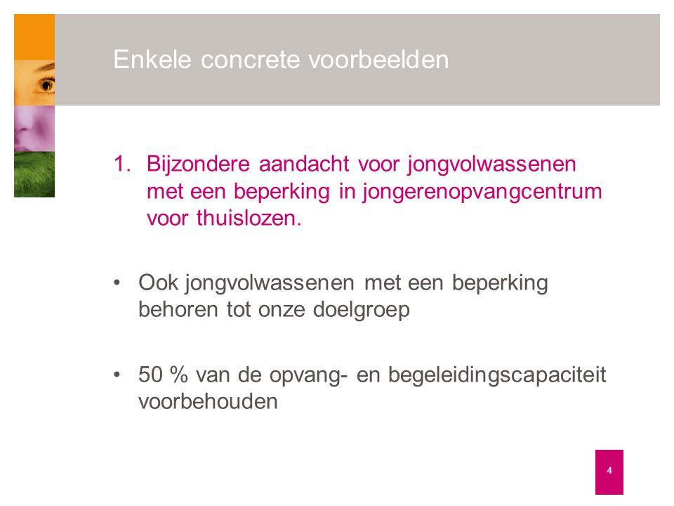 Enkele concrete voorbeelden 4 1.Bijzondere aandacht voor jongvolwassenen met een beperking in jongerenopvangcentrum voor thuislozen. •Ook jongvolwasse