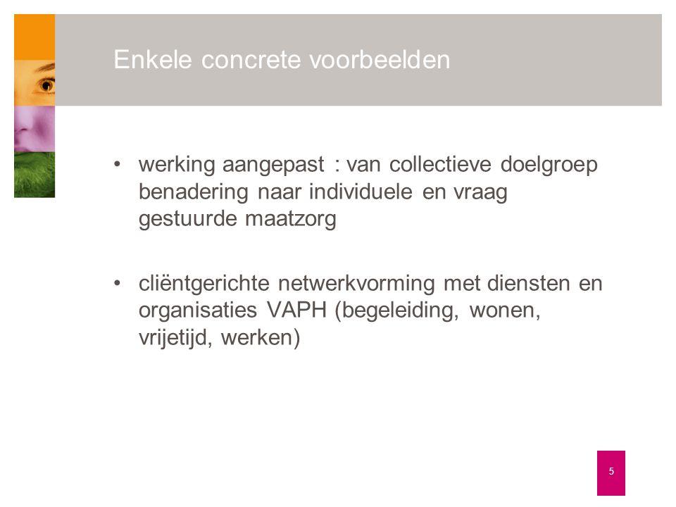 Enkele concrete voorbeelden 5 •werking aangepast : van collectieve doelgroep benadering naar individuele en vraag gestuurde maatzorg •cliëntgerichte n