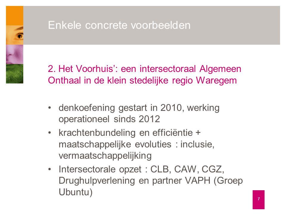 Enkele concrete voorbeelden 7 2. Het Voorhuis': een intersectoraal Algemeen Onthaal in de klein stedelijke regio Waregem •denkoefening gestart in 2010