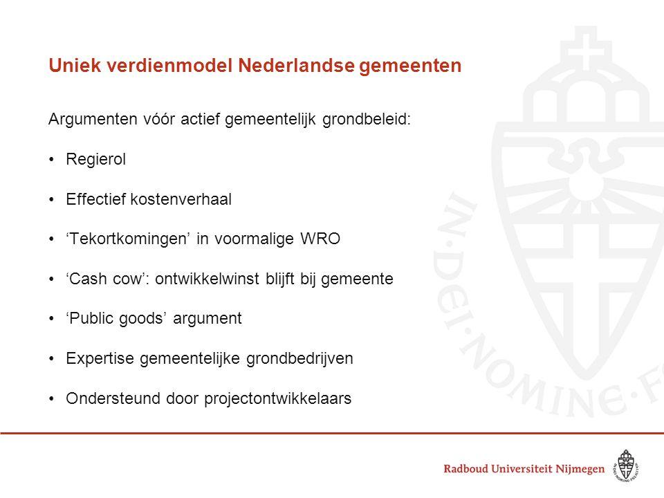 Uniek verdienmodel Nederlandse gemeenten Argumenten vóór actief gemeentelijk grondbeleid: •Regierol •Effectief kostenverhaal •'Tekortkomingen' in voor