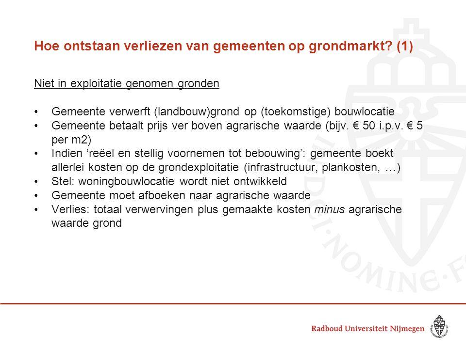 Hoe ontstaan verliezen van gemeenten op grondmarkt? (1) Niet in exploitatie genomen gronden •Gemeente verwerft (landbouw)grond op (toekomstige) bouwlo