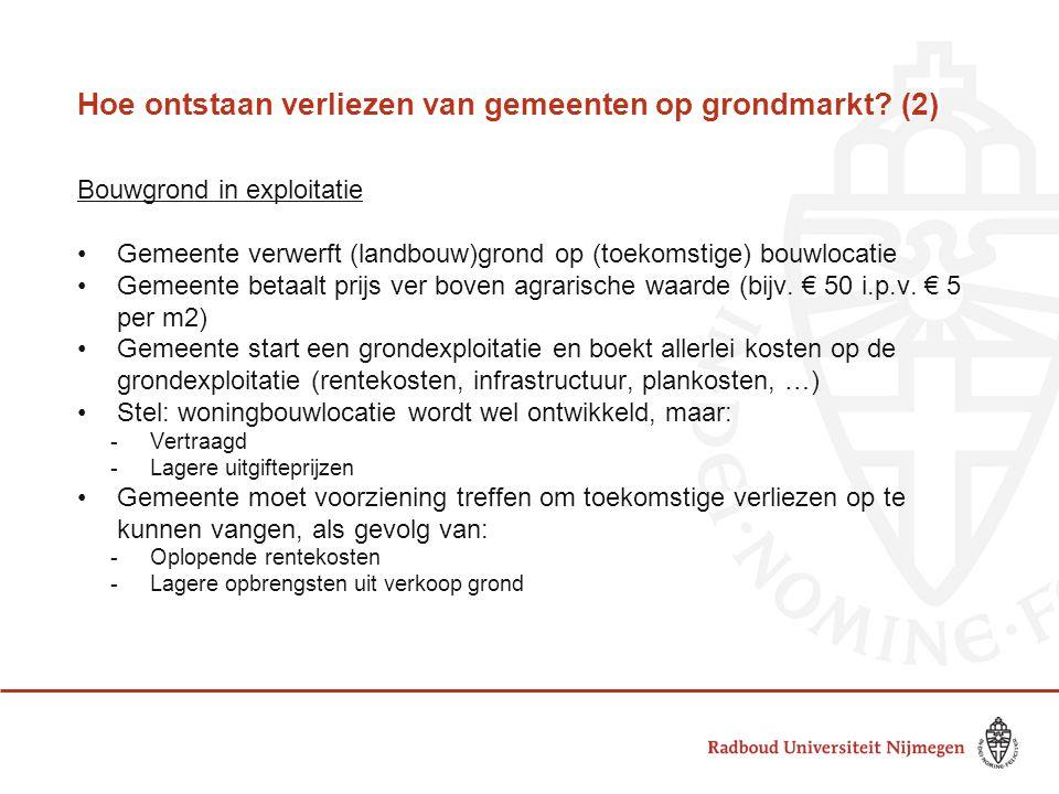 Hoe ontstaan verliezen van gemeenten op grondmarkt? (2) Bouwgrond in exploitatie •Gemeente verwerft (landbouw)grond op (toekomstige) bouwlocatie •Geme