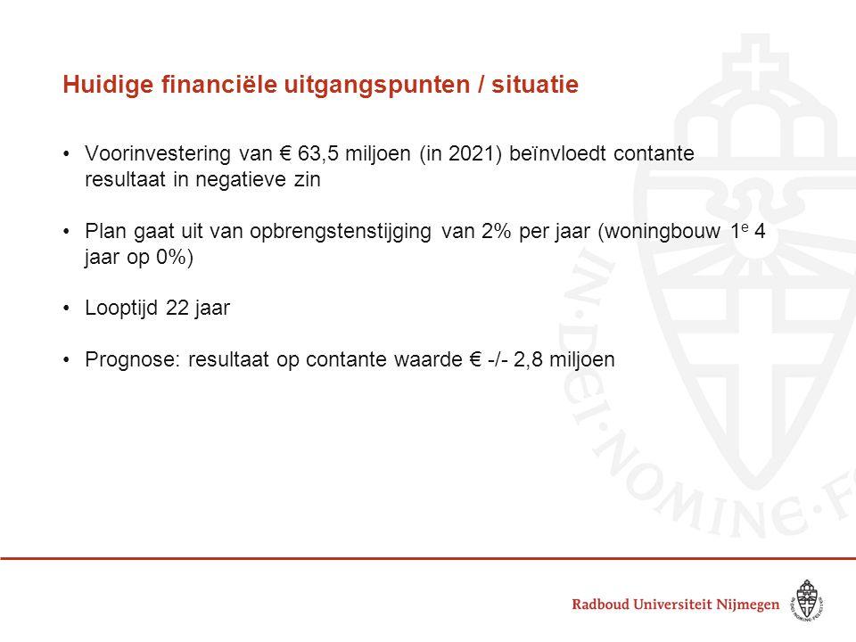 Huidige financiële uitgangspunten / situatie •Voorinvestering van € 63,5 miljoen (in 2021) beïnvloedt contante resultaat in negatieve zin •Plan gaat u