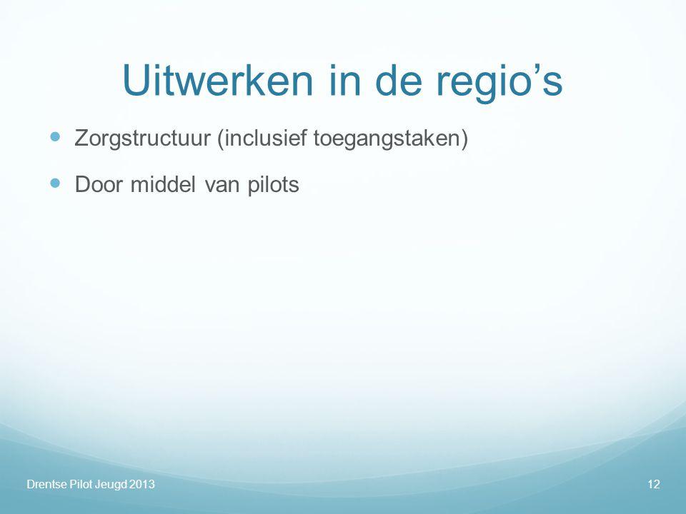 Uitwerken in de regio's  Zorgstructuur (inclusief toegangstaken)  Door middel van pilots Drentse Pilot Jeugd 201312