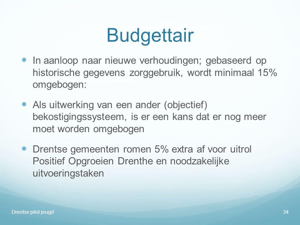 Budgettair  In aanloop naar nieuwe verhoudingen; gebaseerd op historische gegevens zorggebruik, wordt minimaal 15% omgebogen:  Als uitwerking van ee