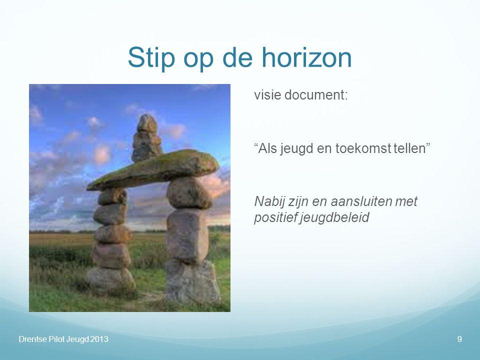 """Stip op de horizon visie document: """"Als jeugd en toekomst tellen"""" Nabij zijn en aansluiten met positief jeugdbeleid Drentse Pilot Jeugd 20139"""