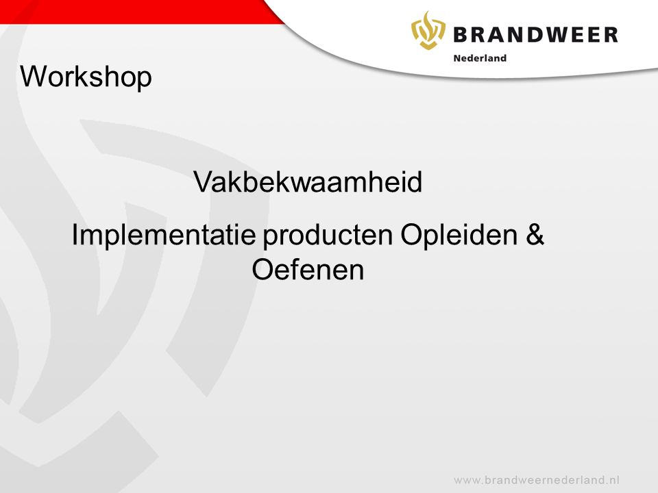 Workshop Vakbekwaamheid Implementatie producten Opleiden & Oefenen