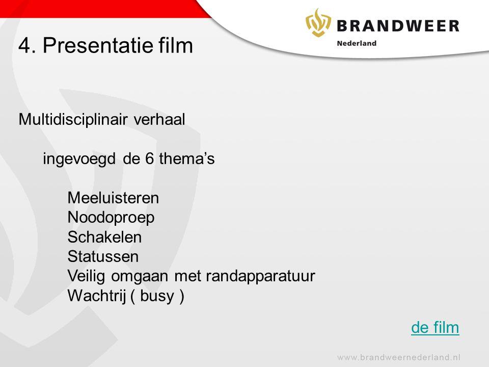 4. Presentatie film Multidisciplinair verhaal ingevoegd de 6 thema's Meeluisteren Noodoproep Schakelen Statussen Veilig omgaan met randapparatuur Wach