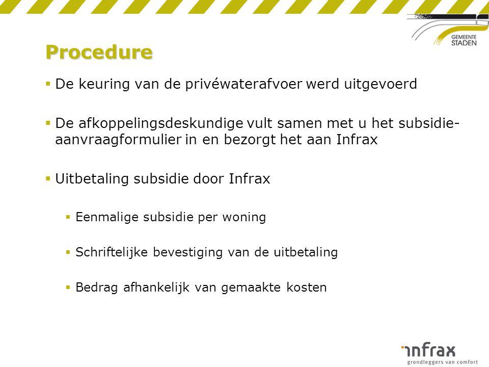 Procedure  De keuring van de privéwaterafvoer werd uitgevoerd  De afkoppelingsdeskundige vult samen met u het subsidie- aanvraagformulier in en bezo