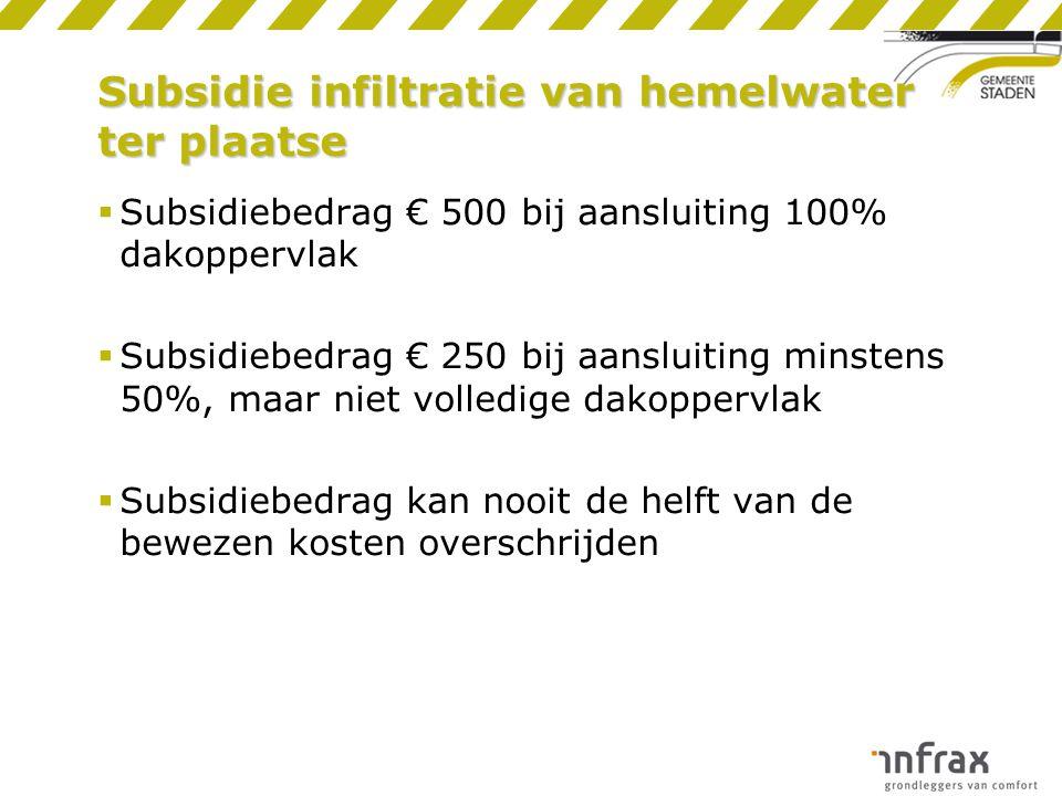 Subsidie infiltratie van hemelwater ter plaatse  Subsidiebedrag € 500 bij aansluiting 100% dakoppervlak  Subsidiebedrag € 250 bij aansluiting minste