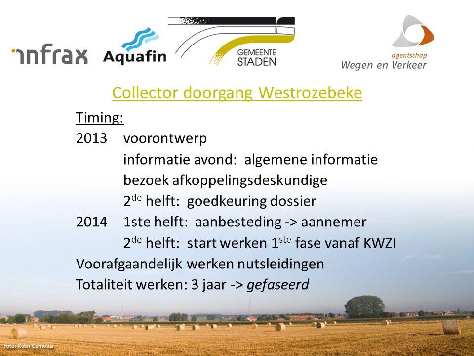 Collector doorgang Westrozebeke Timing: 2013 voorontwerp informatie avond: algemene informatie bezoek afkoppelingsdeskundige 2 de helft: goedkeuring d