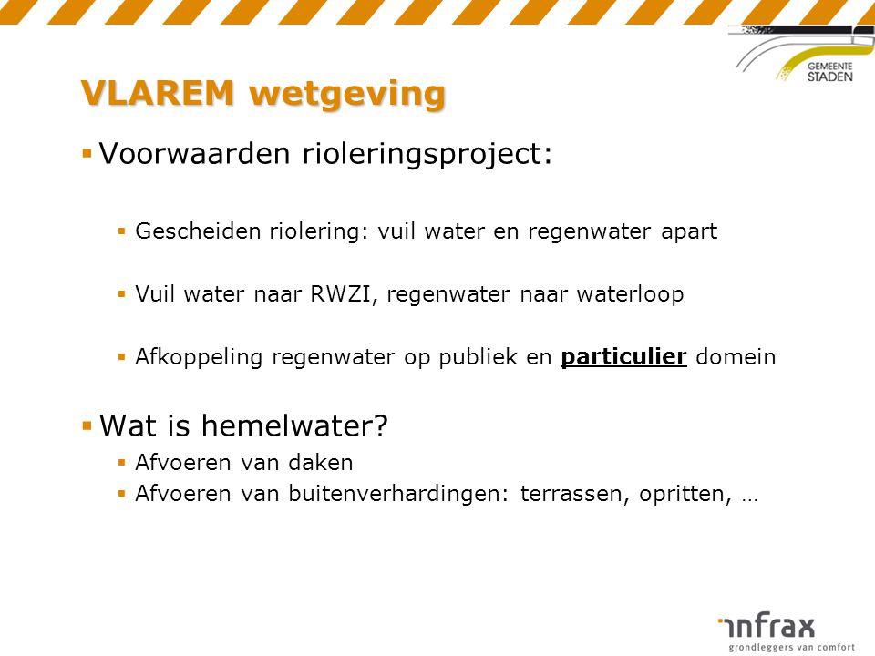 VLAREM wetgeving  Voorwaarden rioleringsproject:  Gescheiden riolering: vuil water en regenwater apart  Vuil water naar RWZI, regenwater naar water