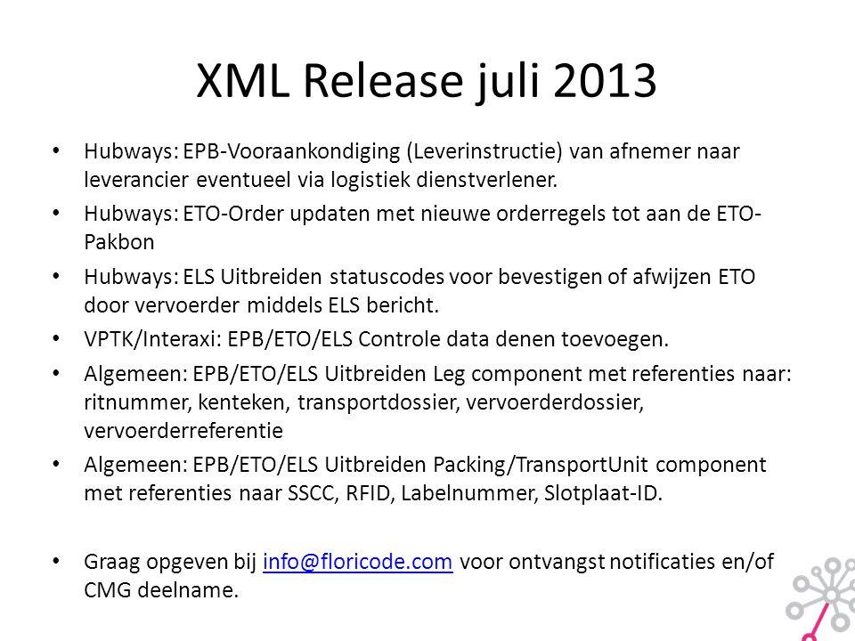 XML Release juli 2013 • Hubways: EPB-Vooraankondiging (Leverinstructie) van afnemer naar leverancier eventueel via logistiek dienstverlener. • Hubways