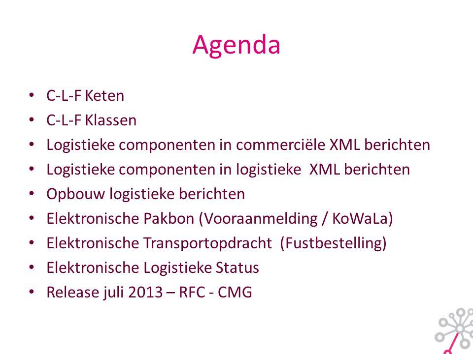 Agenda • C-L-F Keten • C-L-F Klassen • Logistieke componenten in commerciële XML berichten • Logistieke componenten in logistieke XML berichten • Opbouw logistieke berichten • Elektronische Pakbon (Vooraanmelding / KoWaLa) • Elektronische Transportopdracht (Fustbestelling) • Elektronische Logistieke Status • Release juli 2013 – RFC - CMG