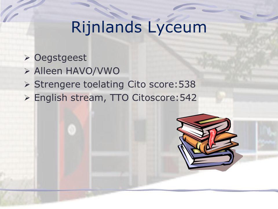 Stedelijk Gymnasium  Leiden Fruinlaan en Leiden Merenwijk  Eén richting, géén brugjaar  score 542: met VWO advies  score 544: met HAVO/VWO advies