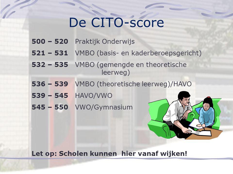 De CITO-score 500 – 520 Praktijk Onderwijs 521 – 531 VMBO (basis- en kaderberoepsgericht) 532 – 535 VMBO (gemengde en theoretische leerweg) 536 – 539 VMBO (theoretische leerweg)/HAVO 539 – 545 HAVO/VWO 545 – 550 VWO/Gymnasium Let op: Scholen kunnen hier vanaf wijken!